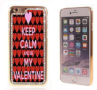 Keep Calm and Be My Valentine Design Luxury Hybrid Bling Glitter Sparkle With Crystal Rhinestone Case for iPhone 6