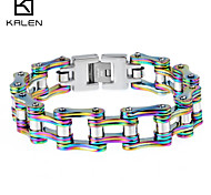 Kalen Men's Jewelry Stainless Steel Special Colored Bicycle Chain Bracelet