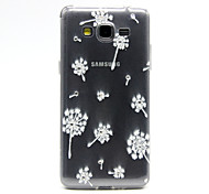 White Dandelion Pattern TPU Relief Diamond Back Cover Case for Samsung Galaxy Prime G530