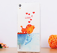The Cat Kiss Fish Design TPU Soft Case for Huawei P8