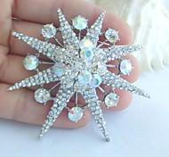 Women Accessories Silver-tone Clear Rhinestone Crystal Brooch Bouquet Art Deco Star Brooch Wedding Jewelry