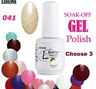 LIBEINE 3 pcs/lot 15 ML UV Color Gel Nail Polish No.041(Light Gold Glitter)