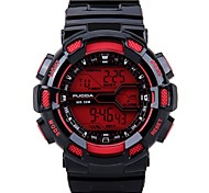 Men's Silicone Strap Digital Sport Watches Chronograph/Alarm/Calendar/Backlight/Waterproof Red