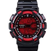 bracelet en silicone sport numérique des hommes montres chronographes / alarme / calendrier / rétro-éclairage / rouge imperméable à l'eau