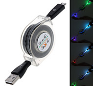 Smiling Face Glow Design Retractable Data Sync and Charging Cable for Samsung (Length:95cm) (Assorted Colors)