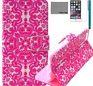 Coco fun® flor rosa padrão de videira estojo de couro pu com protetor de tela e cabo USB e caneta para Iphone 6