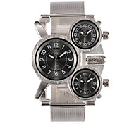 Oulm® Men's Military Watch Three Time Zones Silver Steel Strap Cool Watches Unique Watches