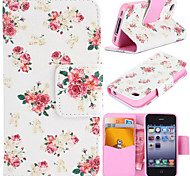 Flowerlet Pattern with Card Bag Full Body Case for iPhone 4/4S