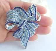 Wedding Accessories Silver-tone Blue Rhinestone Crystal Bowknot Brooch Bouquet Art Deco Crystal Brooch Women Jewelry