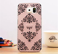 Black flowers Pattern Dermatoglyph Plastic Hard Back Cover for Samsung Galaxy S6 edge