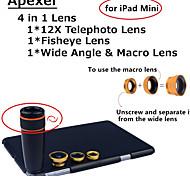 Apexel 4 in 1 Lens Kit 12X Black Telescope Lens+Fisheye Lens+Wide-angle+Macro Camera Lens with Case for iPad mini 2/3