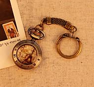 Paris Eiffel Tower Roman Number Bronze Pattern Fashion Casual Vintage Antique Pocket Watches With Short Cowboy Chain