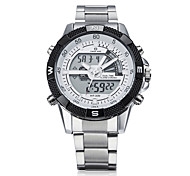 Digital  Analog Dual Time Date Alarm Stainless Steel Strap Outdoor White Quartz Wrap Wrist Military Men's Sports Watch