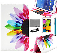 COCO FUN® Colorful Sunflower Pattern PU Leather Case with Film and USB Cable and Stylus for Samsung Tab 4 7.0 T230