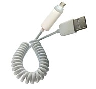 USB2.0 Male to Micro USB Male Coiled Spring Extension Sync Light