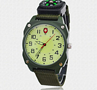 Men's Fashion Sports Watch Green Fabric Nylon Strap Military Compass Quartz Watches