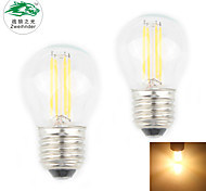 Zweihnder E27 4W 380LM 3000-3500K 4xLED Warm Light Tungsten Filament Lamp (new products,AC 220-240V,2Pcs)