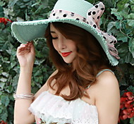 Women Summer Bow Straw Floppy Hat