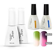 azur 4 pièces / lot nail art tremper hors gel uv ongles gel ongles gel de kit de vernis à ongles (# 02 + # 12 + base + haut)