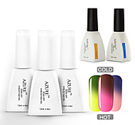 Azure 5 Pcs/Lot Soak-off Color Changing UV Gel Nail Polish Top Base Coat Manicure Varnish(#04+#09+#13+BASE +TOP)