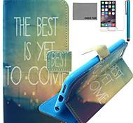melhor caso de couro pu vindo padrão de coco fun® com protetor de tela e cabo USB e caneta para Iphone 6