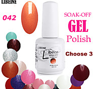 LIBEINE 3 pcs/lot 15 ML UV Color Gel Nail Polish No.042(Glitter Common Orange)