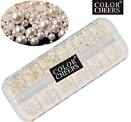 1000pcs color beige decoraciones del arte del clavo de la perla 1,5 / 2/3/4 mm