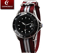 Men's Calendar Analog Stainless Steel Case Round Dial Nylon Band Japan Quartz Watch Men Sport Watch Gift Watch