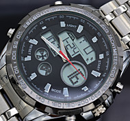 Men's Analog Digital Dress Watch Full Steel Military Sports Watches Dual Quartz LED Watch 5ATM Waterproof Relogio