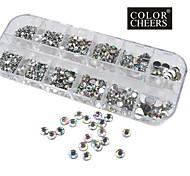1200pcs ab acrylique de couleur diamant décorations de nail art 1.5 / 2/3/4/5/6 mm