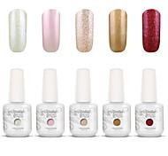Gelpolish Nail Art Soak Off UV Nail Gel Polish Color Gel Manicure Kit 5 Colors Set S110