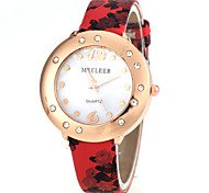 Women's Flower Design Gold Case PU Band Quartz Watch