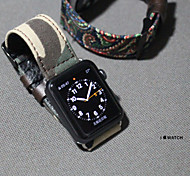 Natural Cotton Fabric Watchbands Camouflage Style For iWatch 38mm  Leather Watchband Ladies Men Fashion