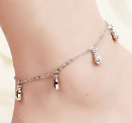 Vilam® Hot Girl Ankle Bracelet Bead Chain Simple Silver Thick Heart Beads Anklet Foot Jewelry