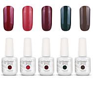 Gelpolish Nail Art Soak Off UV Nail Gel Polish Color Gel Manicure Kit 5 Colors Set S133