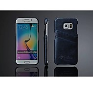 PU Leather Oil Wax Wave Back Case with Card Holder for Samsung Galaxy S6 edge (Assorted Color)