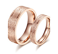 Classic Stainless Steel Gold Plate Couple Rings (2 Pcs)