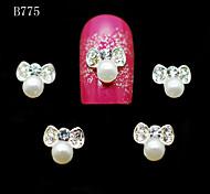 B775 10pcs/lot Beauty Beige Pearls Bow Shape Charm Strip Crystal 3D Alloy Metal Nail Art Tips Glitter Nail Phone Tools