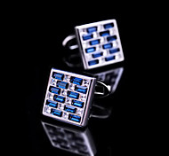 Toonykelly® Fashion Silver Plated Square Blue White CZ Crystal Men Shirt Cufflink Button(1 Pair)