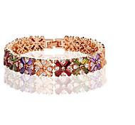 Women's Fashion  Colorful Crystal Rhinestone Hand Chain Ring Bracelet 19CM