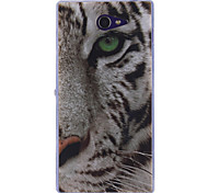 White Tiger Pattern TPU Soft Case for Sony Xperia M2