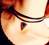 HUALUO®Hot Fashion Wild Double Triangle Leather Cord Necklace
