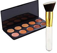 Pro Party 10 Colors Contour Face Cream Makeup Concealer Palette + Blush Brush