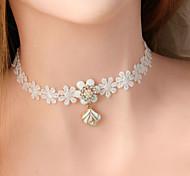 Women's Fashion Flower White Lace Choker Necklaces