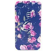 rosa Rosenmuster transparent gefrostet pc rückseitige Abdeckung für iPhone 4 / 4S