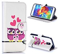 The Owl Family Pattern Wallet Style Magnetic Flip Stand TPU + PU Leather Case for Samsung Galaxy S5 I9600 G900