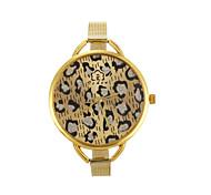 luxuoso leopardo grande mostrador de ouro banda quartzo de aço inoxidável relógio de pulso feminino