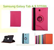 rotación casos de cuero de grano litchi con el sueño soporte automático / vigilia para Samsung Galaxy Tab a 9,7 (colores surtidos)
