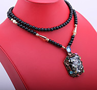 Fashion Women's Big Square Resin Pendant Long Necklace with Black Beads