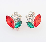 New Arrived For 2015 Free Shipping Cute Style Multicolor Flower Glass Crystal Earrings For Women